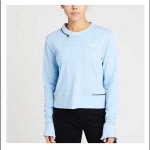 Soulcycle light blue zipper crewneck